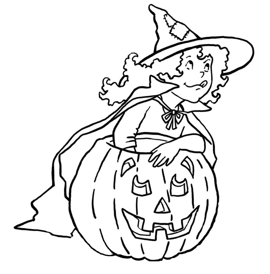 Stampa disegno di bambina con la zucca da colorare - Halloween immagini da colorare ...