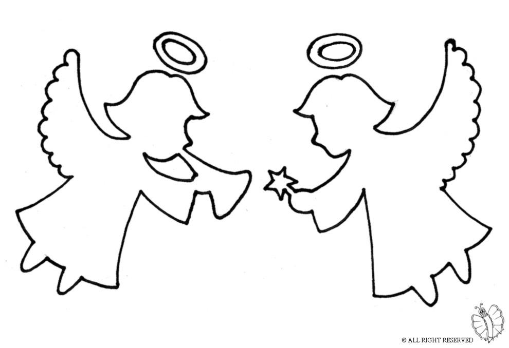 Stampa disegno di angioletti che festeggiano da colorare for Disegni di angeli da colorare per bambini