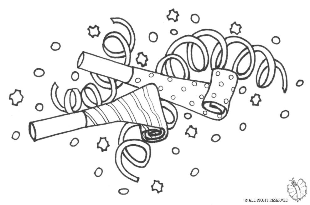 Stampa disegno di festoni e coriandoli da colorare for Immagini di carnevale da colorare