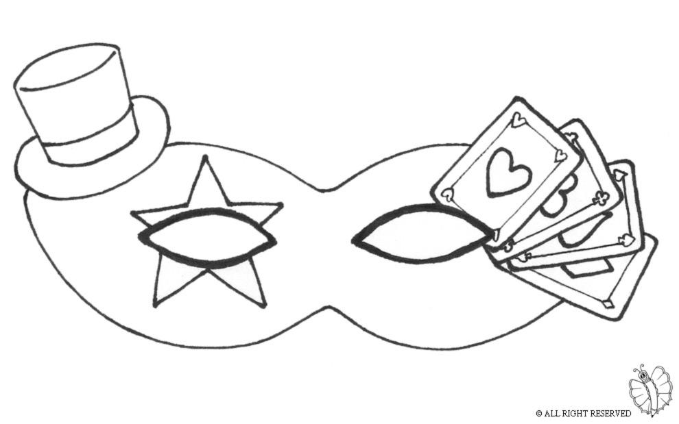 Stampa disegno di maschera carnevale con cappellino da for Immagini maschere carnevale da colorare