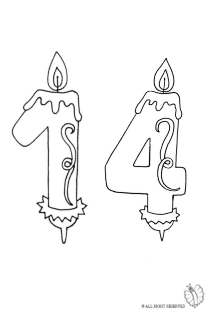 disegno di Quattordici Anni Candeline Compleanno da colorare