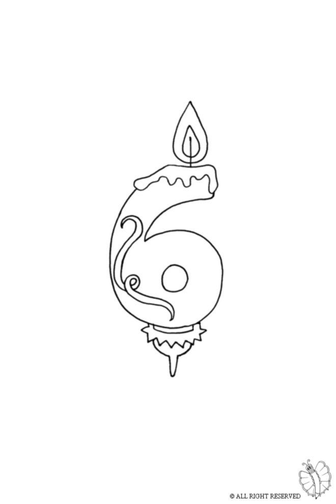 disegno di Sei Anni Candeline Compleanno da colorare