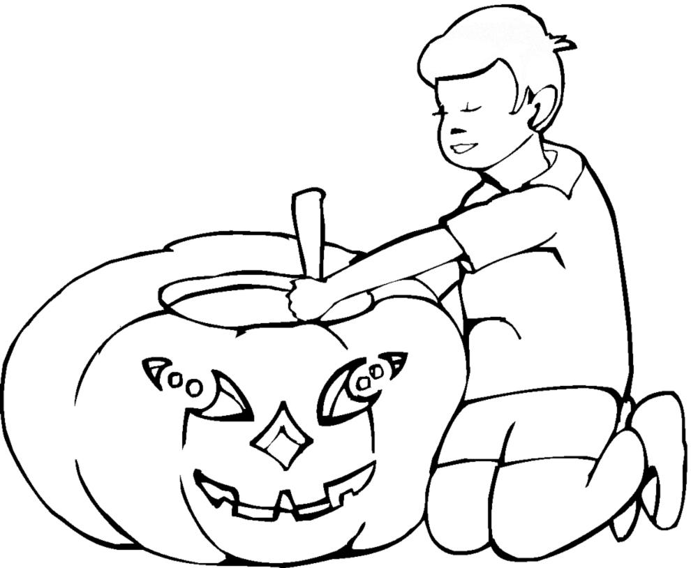 Stampa disegno di bambino con la zucca da colorare - Disegni di zucche ...