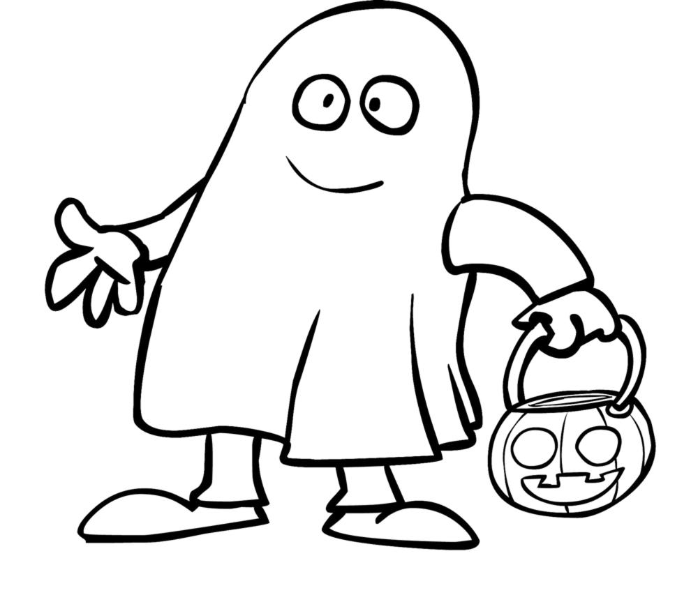Stampa disegno di fantasma con la zucca da colorare for Fantasmi disegni da colorare