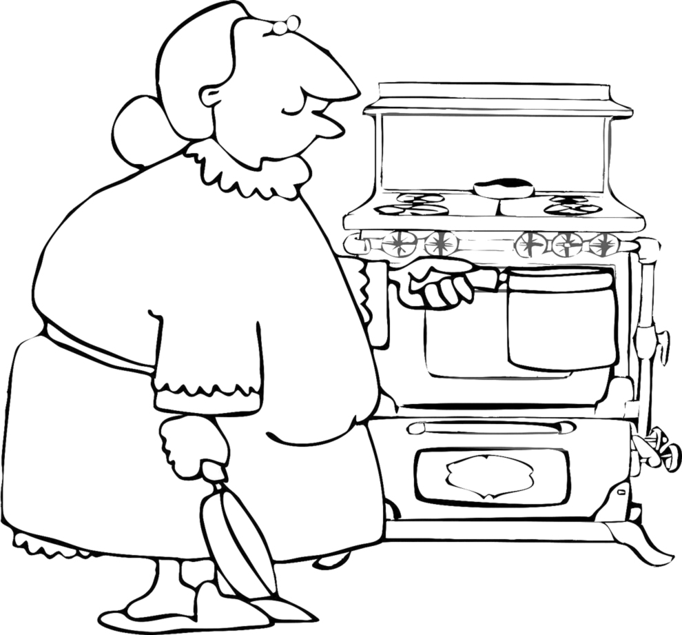 Stampa disegno di nonna in cucina da colorare for Disegni da colorare cucina