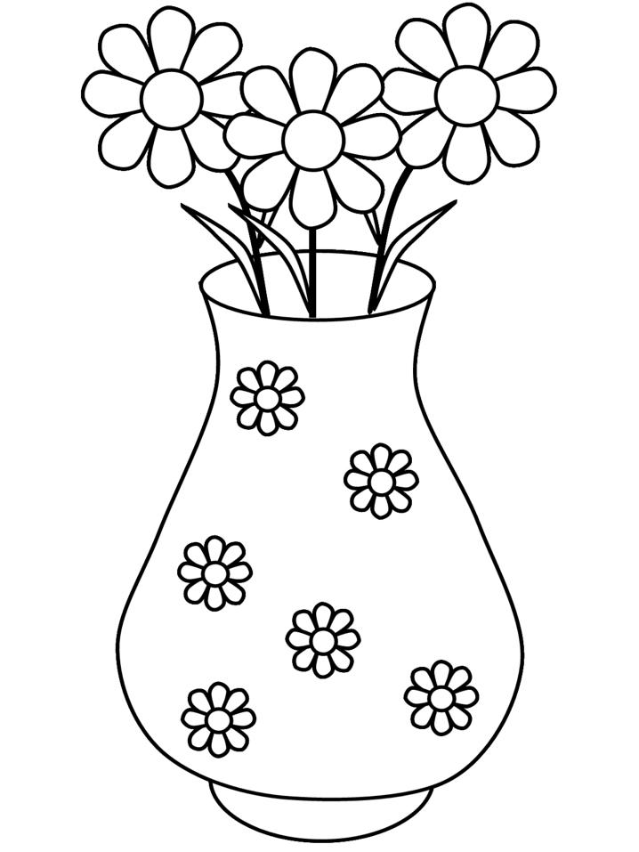 Stampa disegno di vaso di margherite da colorare for Vaso di fiori disegno