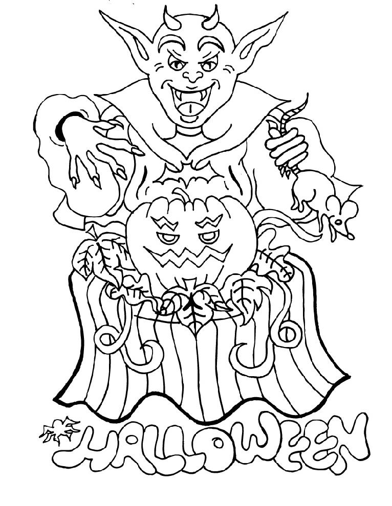 disegno di Diavolo di Halloween da colorare