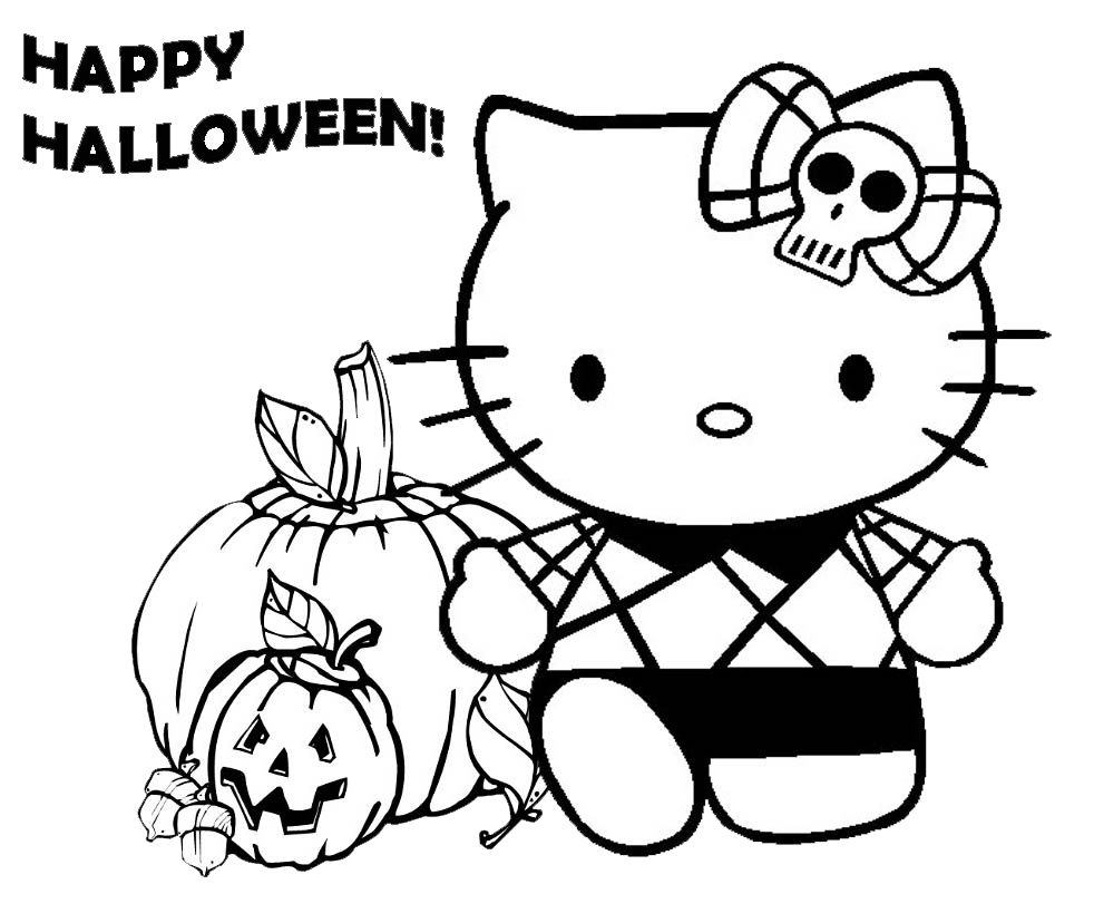Stampa disegno di hello kitty happy halloween da colorare for Hello kitty coloring pages halloween
