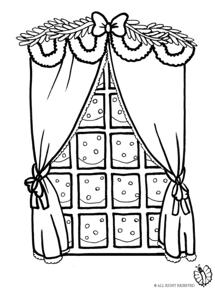 disegno di Finestra con Addobbi di Natale da colorare