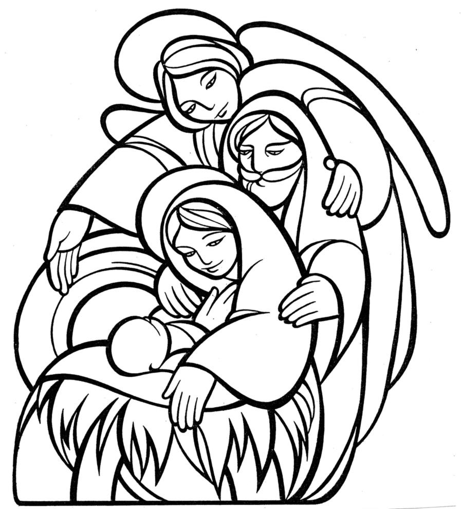 stampa disegno di la sacra famiglia da colorare