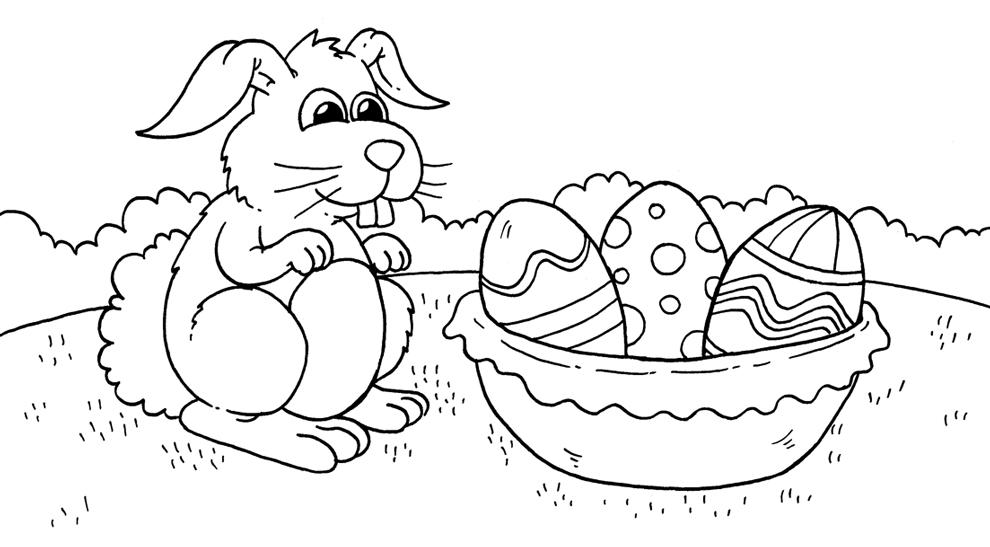 Disegni Da Colorare Gratis Uova Di Pasqua.Stampa Disegno Di Il Coniglio E Le Uova Da Colorare