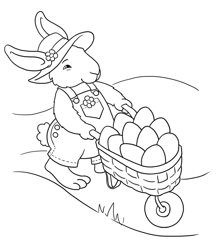 Stampa disegno di coniglio con uova di pasqua da colorare for Coniglio disegno per bambini