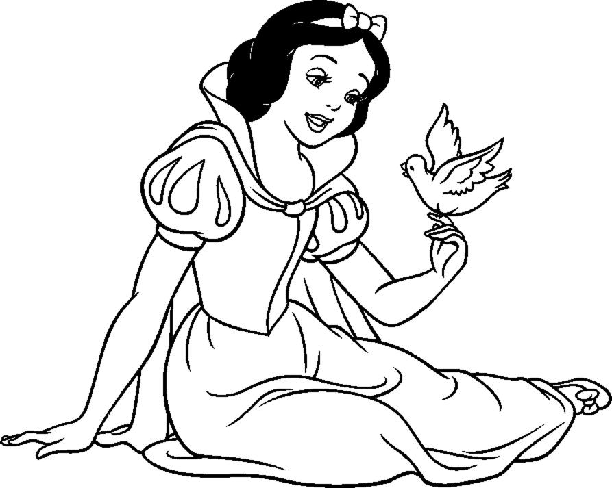 Stampa disegno di Biancaneve con Uccellino da colorare