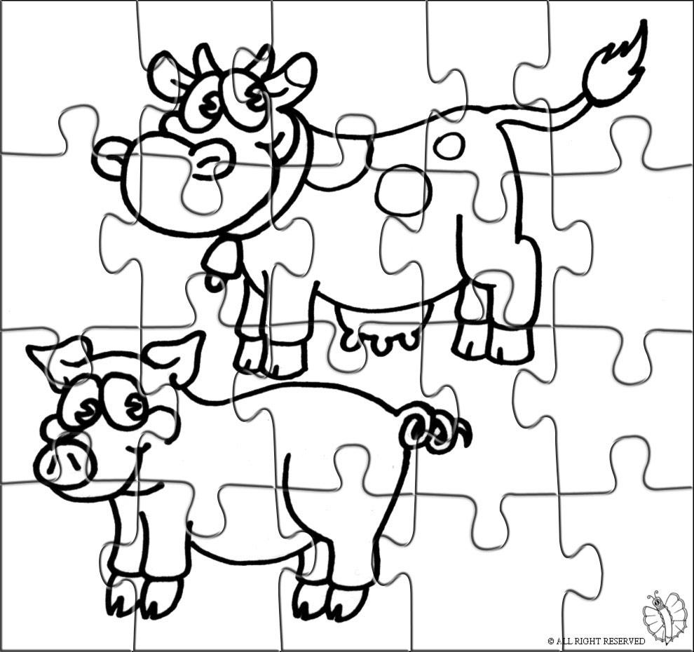 Stampa disegno di puzzle di animali della fattoria da colorare for Disegno della fattoria americana