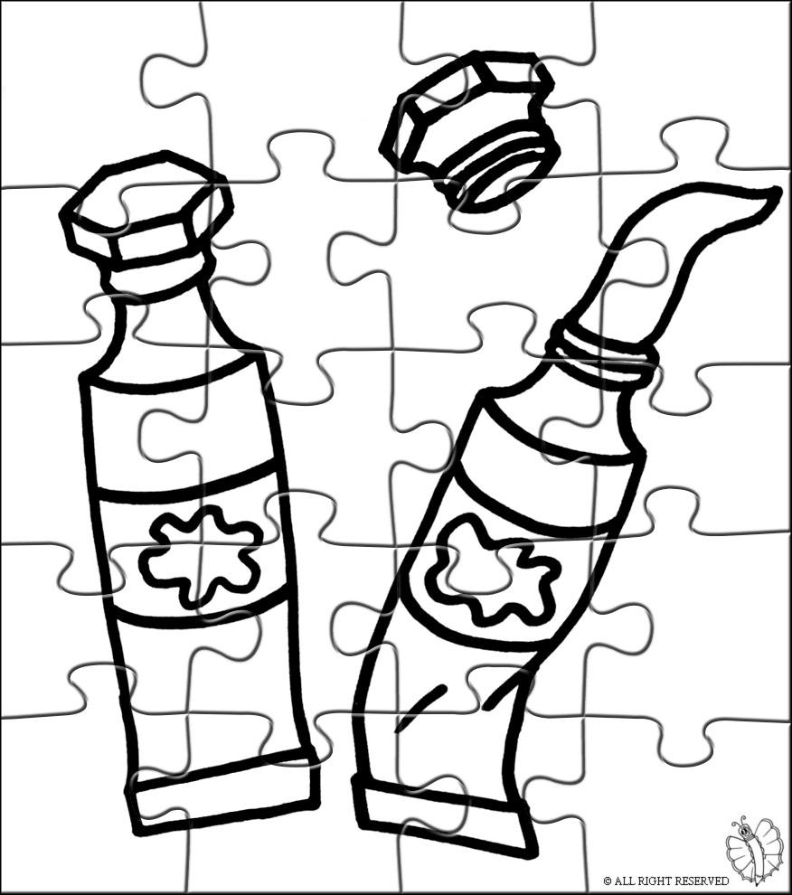Stampa disegno di puzzle di tempere da colorare for Immagini da colorare aristogatti