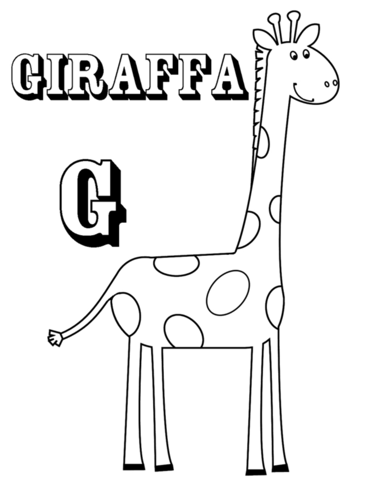 Stampa disegno di scheda lettera g da colorare for Immagini giraffa per bambini
