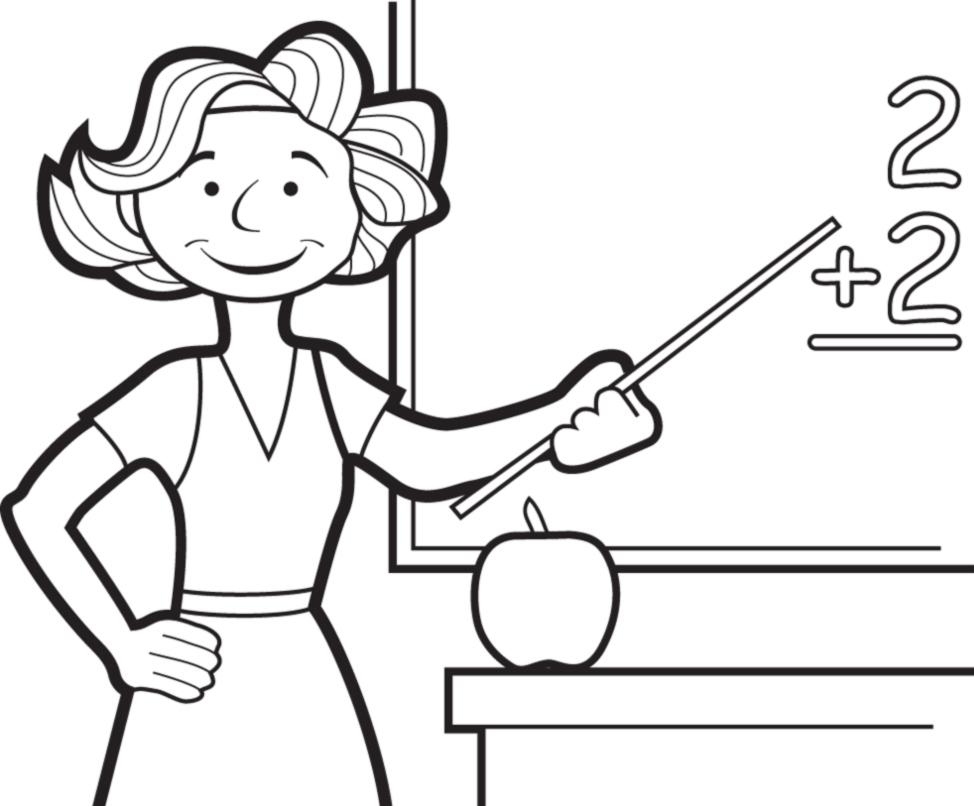 Maestre Da Colorare: Stampa Disegno Di Maestra Alla Lavagna Da Colorare