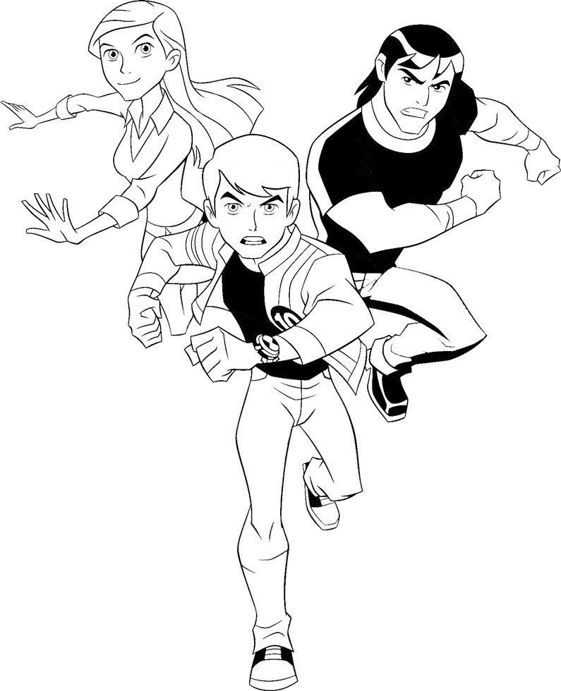 disegno di Ben 10 con Gwen e Kevin da colorare