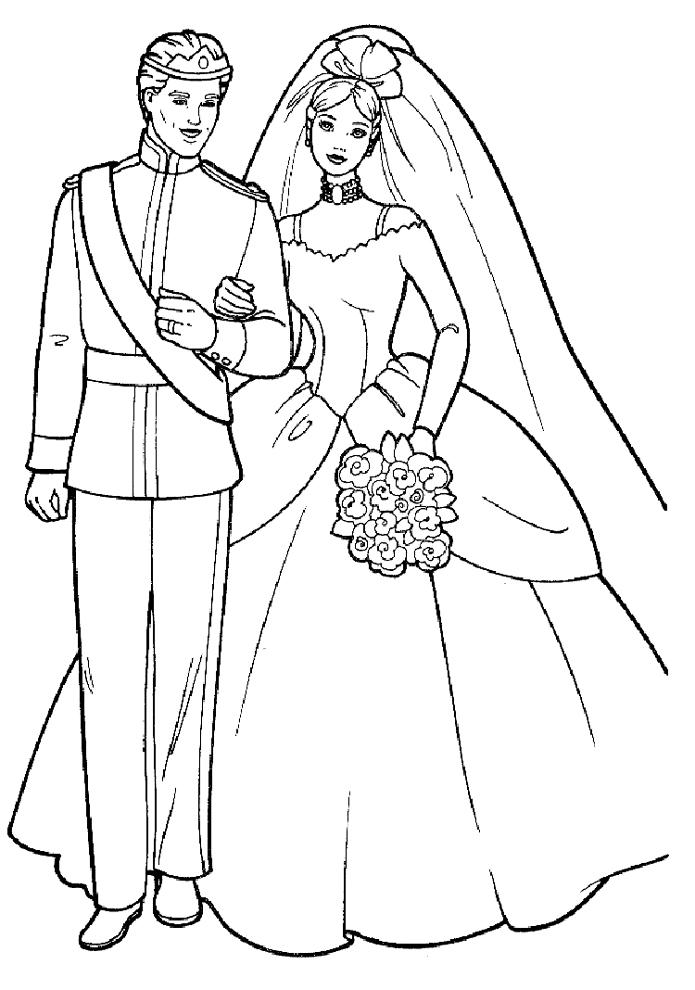 Stampa disegno di barbie e ken sposi da colorare for Disegno sposi