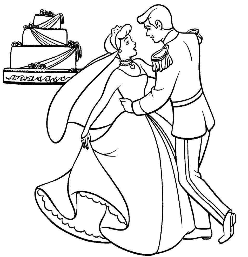 Stampa disegno di cenerentola sposa da colorare for Costruzione di disegni online