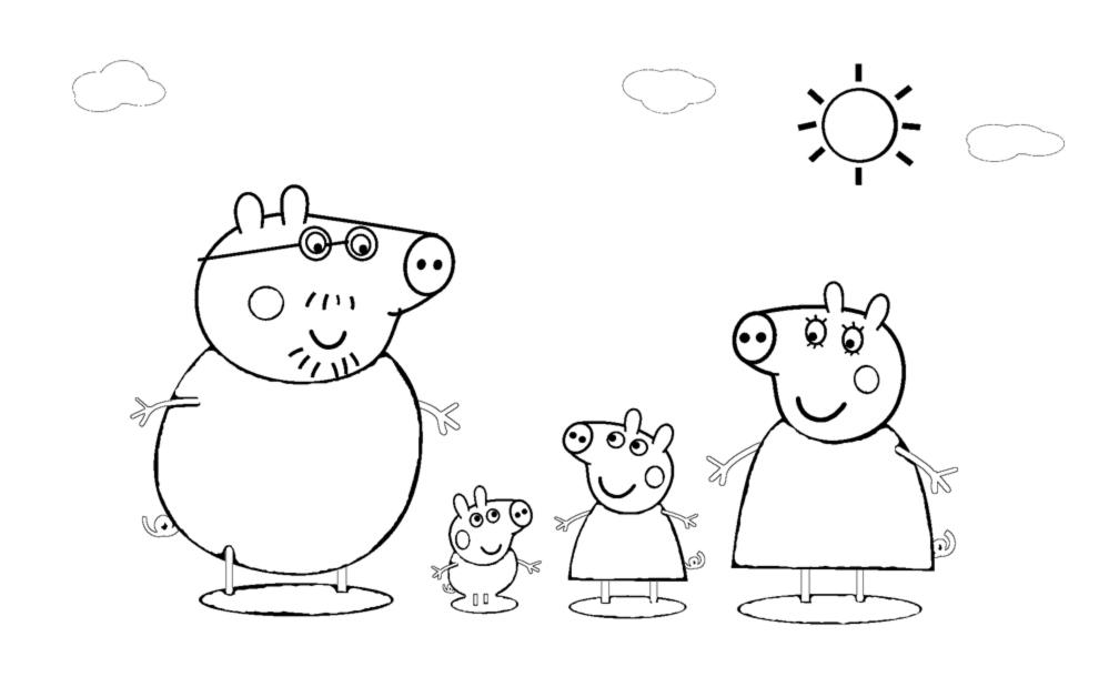 Stampa disegno di la famiglia di peppa pig da colorare for Peppa pig da stampare