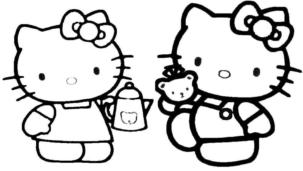 Stampa Disegno Di Hello Kitty Col Caffe Da Colorare
