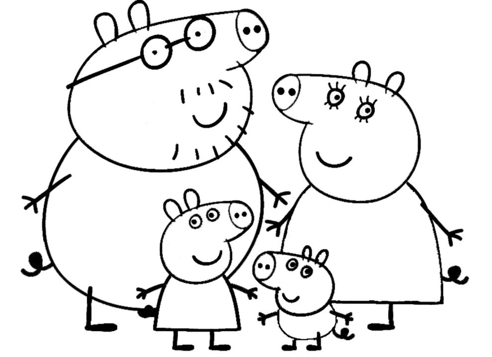 Stampa disegno di peppa pig family da colorare for Peppa pig da stampare