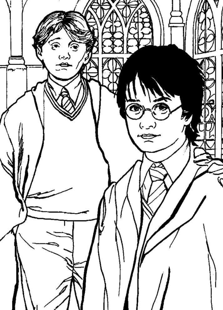 Stampa Disegno Di Rupert Grint Ed Harry Potter Da Colorare