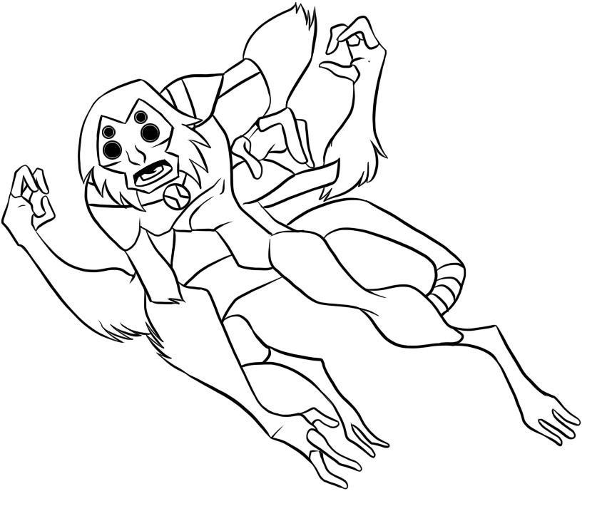 Stampa disegno di scimparagno ben ten da colorare for Immagini di ben ten da colorare