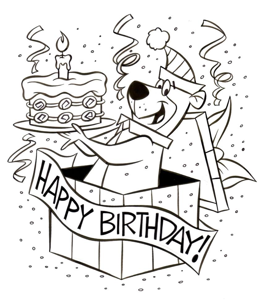 Stampa disegno di yoghi happy birthday da colorare - Buon compleanno da colorare immagini da colorare ...