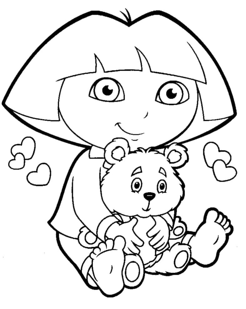 Stampa disegno di dora con orsetto da colorare for Disegno gatto facile