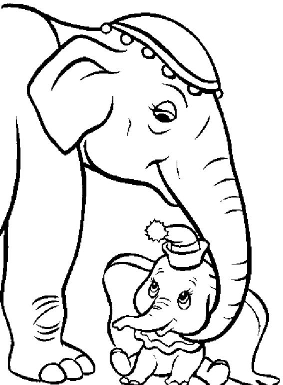 disegno di Dumbo e Mamma da colorare