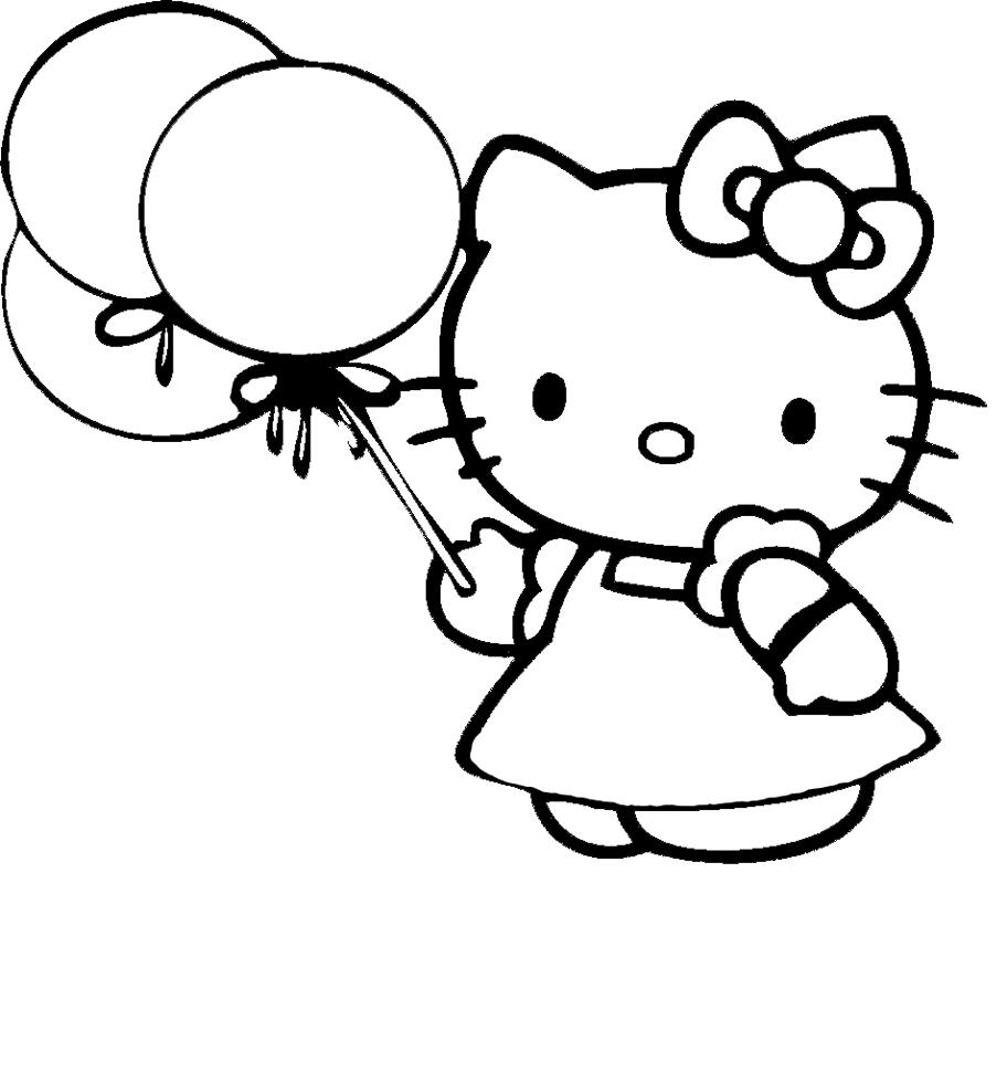 Disegni Da Colorare Hello Kitty Buon Compleanno.Stampa Disegno Di Hello Kitty Con Palloncini Da Colorare