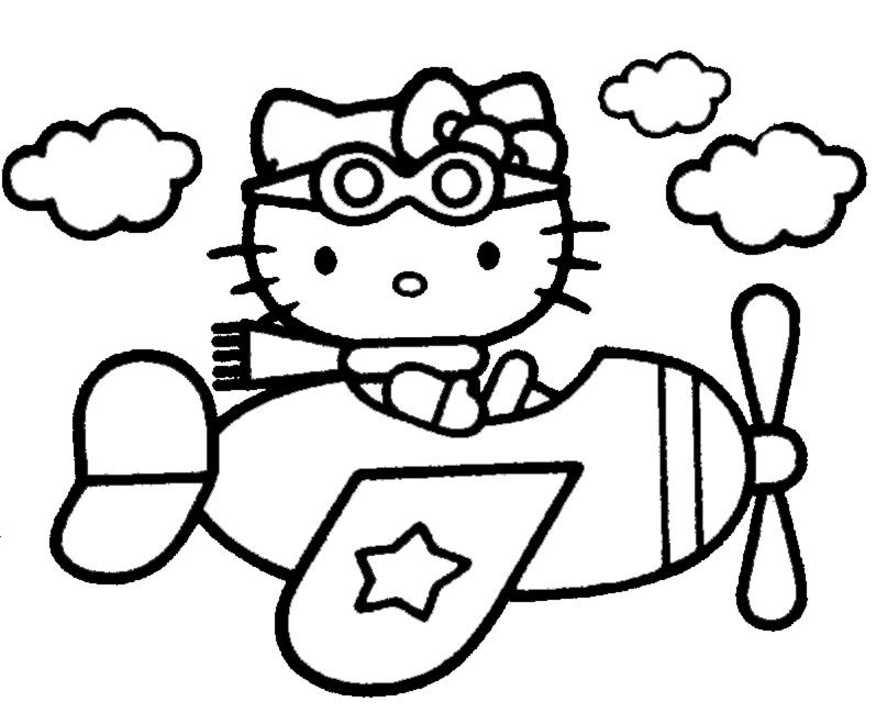 Stampa Disegno Di Hello Kitty Pilota Da Colorare