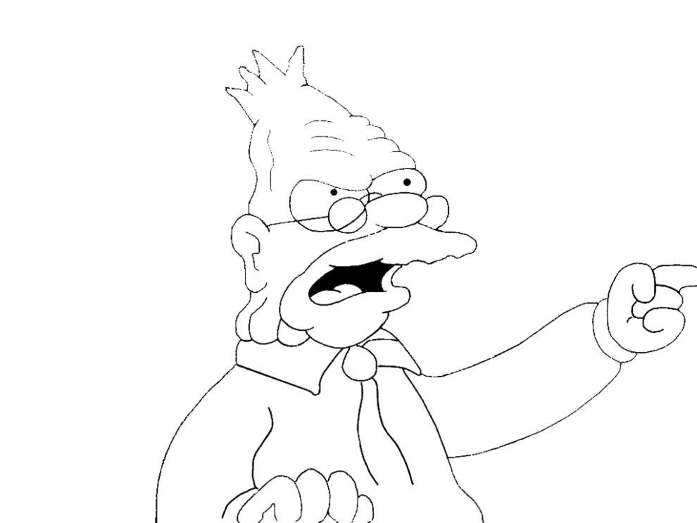 Immagini Da Colorare Simpson: Stampa Disegno Di Nonno Simpson Da Colorare