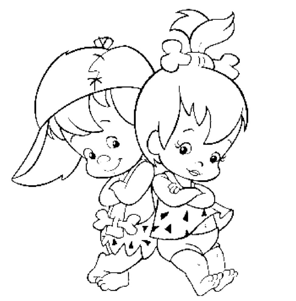 Stampa disegno di i piccoli dei flintstones da colorare