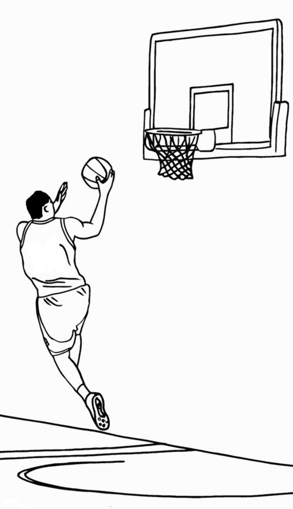 Stampa disegno di tiro a canestro da colorare - Immagini sportive da stampare ...