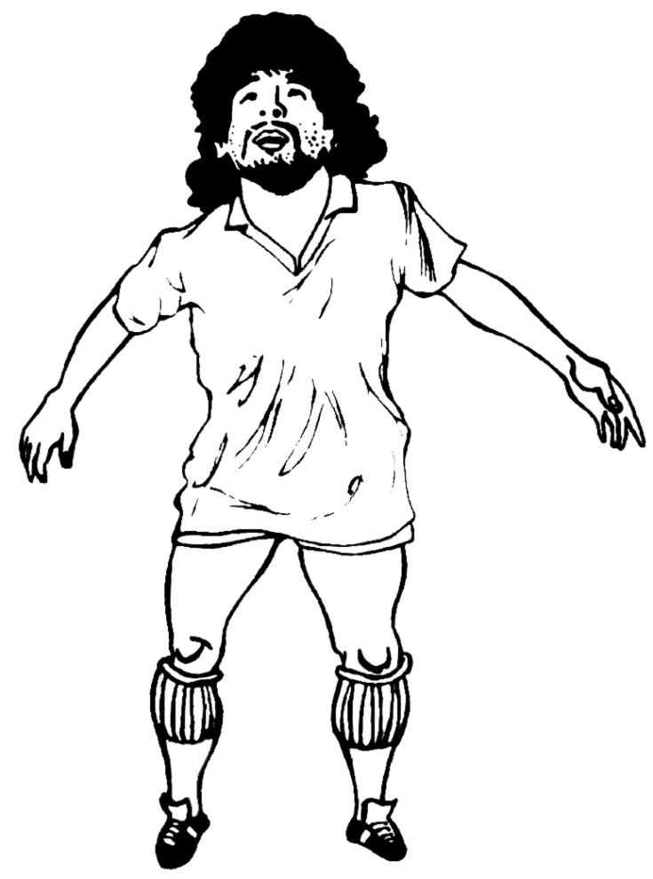 Stampa disegno di diego armando maradona da colorare for Calciatori da colorare per bambini