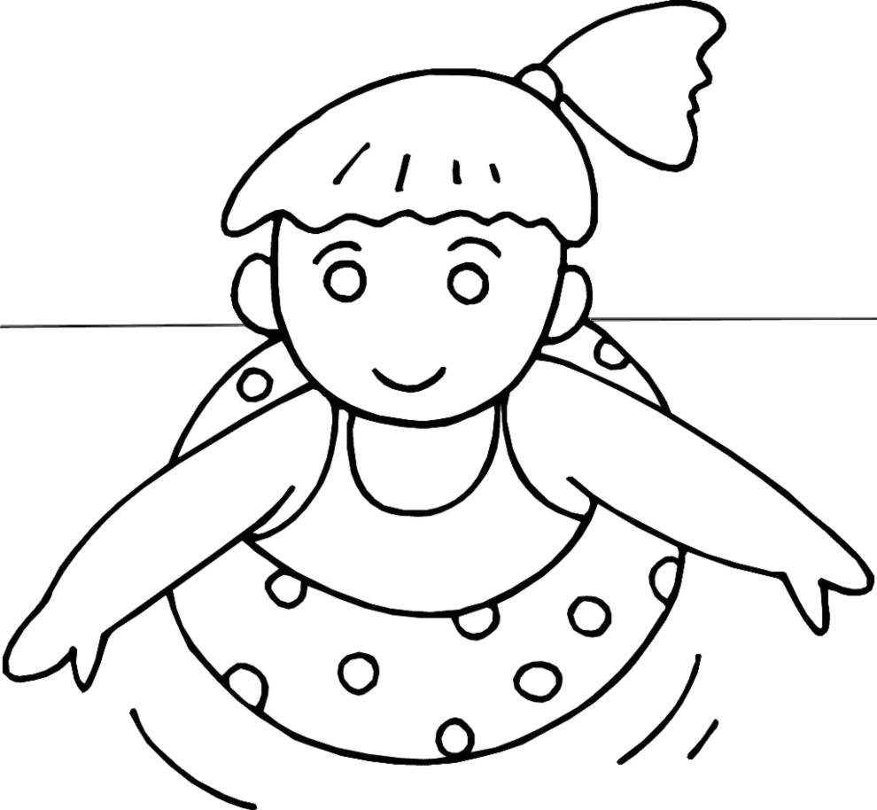 Stampa disegno di bambina con salvagente da colorare for Disegni da camera da spiaggia