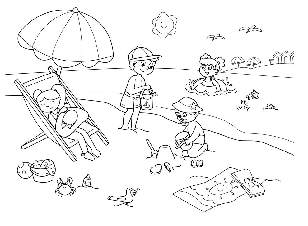 Stampa disegno di spiaggia sole e mare da colorare for Sole disegno da colorare